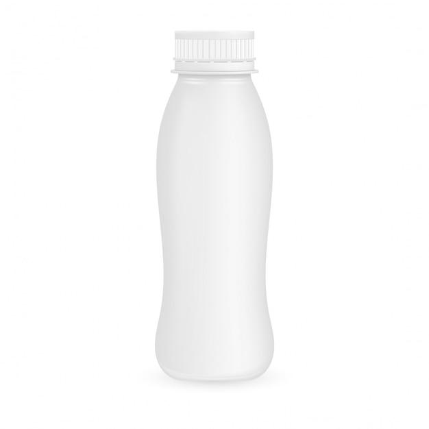 Botella de plástico de yogur. ilustración aislada Vector Premium