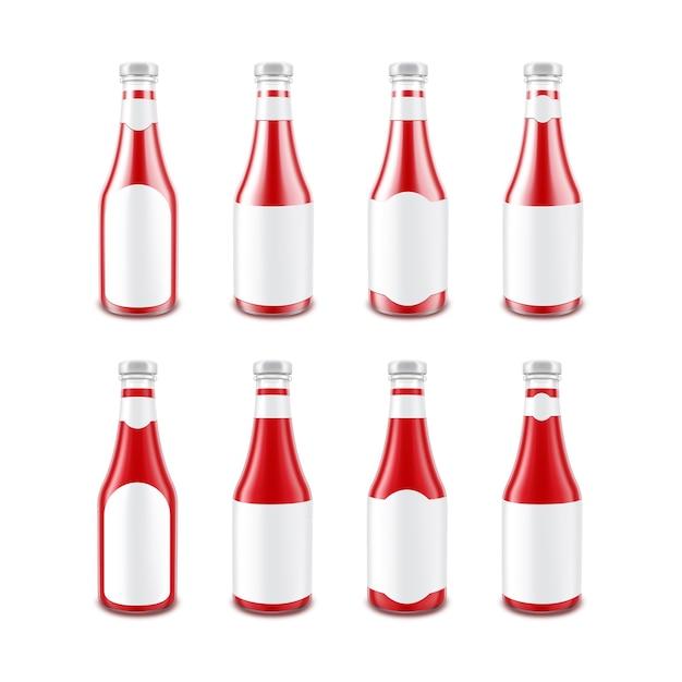 Botella de salsa de tomate rojo brillante de vidrio en blanco para la marca Vector Premium