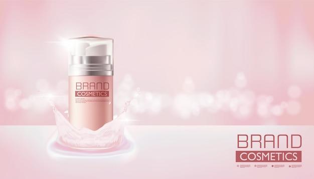 Botella de spray rosa cosmética en color rosa, diseño realista, ilustración vectorial. Vector Premium