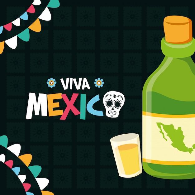 Botella de tequila y chupito vector gratuito