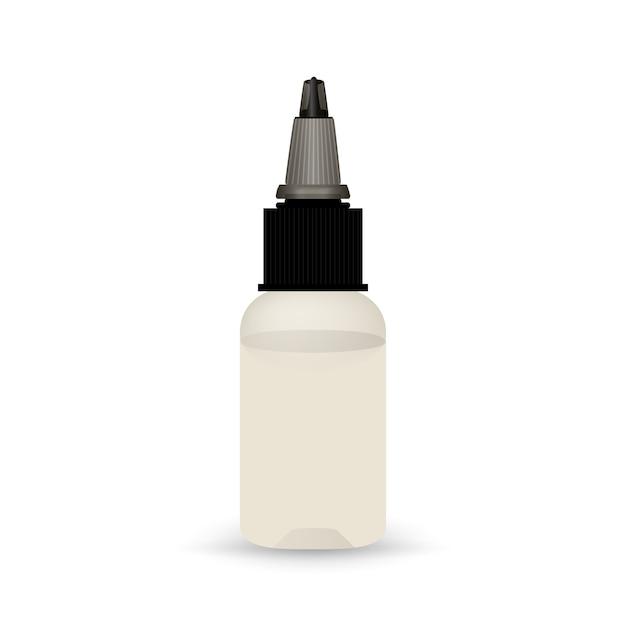 Botella de vape blanca con líquido. vector gratuito