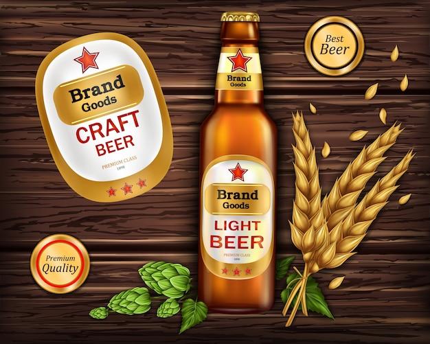 Botella de vidrio marrón con cerveza artesanal vector gratuito