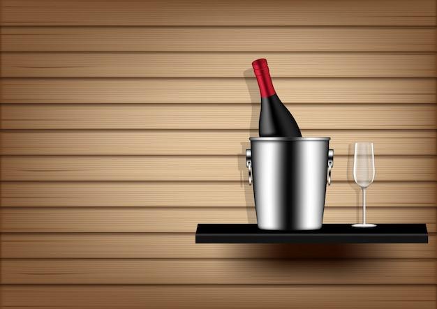 Botella de vino, cubo de hielo y vidrio Vector Premium