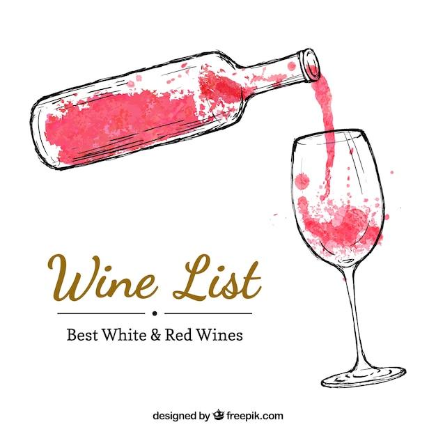 Botella de vino pintada a mano y copa de vino vector gratuito