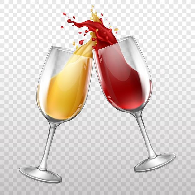 Botella de vino realista, chapoteando en copa de vino. vector gratuito