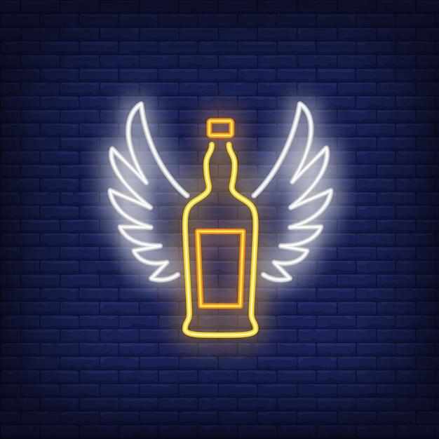 Botella de whisky con letrero de neón de alas de ángel. vector gratuito