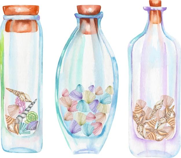 Botellas de acuarela con conchas marinas en el interior. Vector Premium