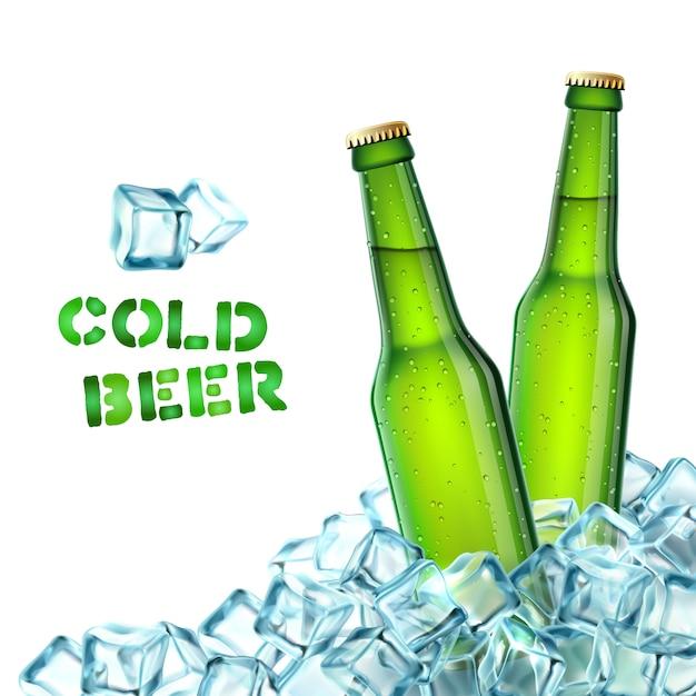 Botellas de cerveza y hielo vector gratuito