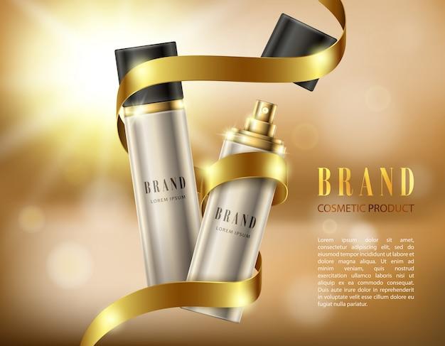 Botellas de spray de plata en un estilo realista sobre fondo con cinta de oro y efecto bokeh Vector Gratis