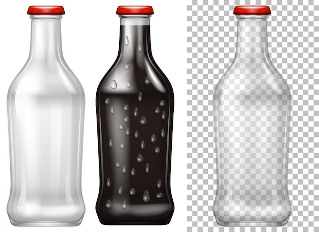 Botellas de vidrio con y sin bebida Descargar Vectores Premium