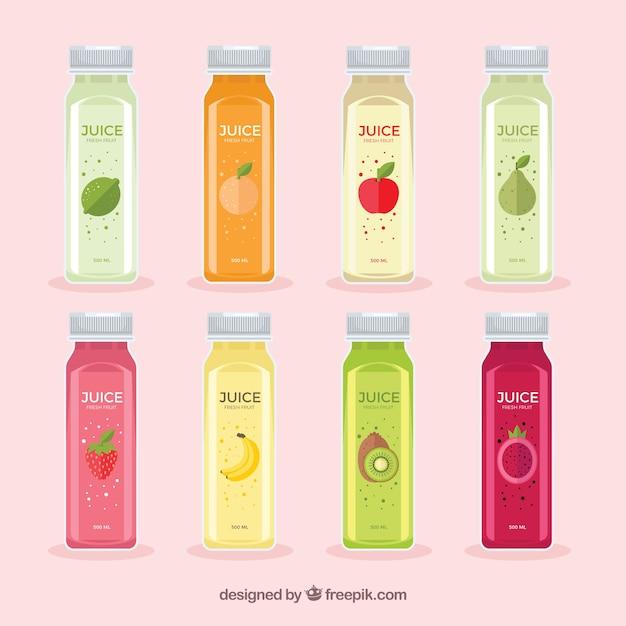 Botellas de deliciosos zumos vector gratuito
