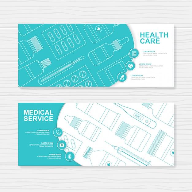 Botellas médicas y de salud establecer plantilla de banner de medicina Vector Premium