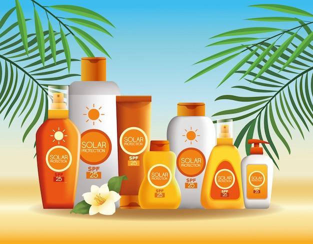 Botellas de protección solar productos para verano. vector gratuito