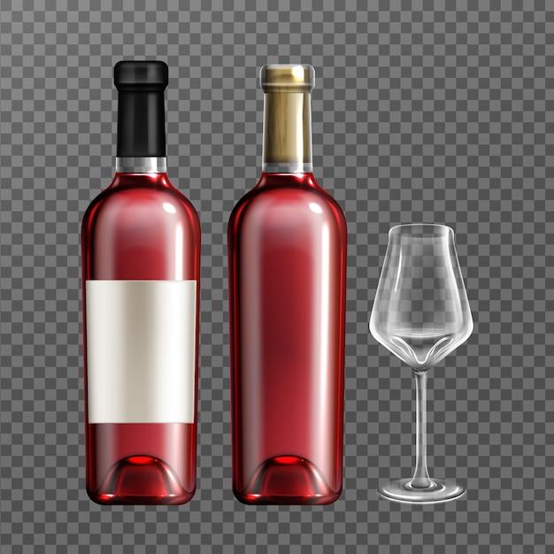 Botellas de vino tinto y vaso vacío vector gratuito