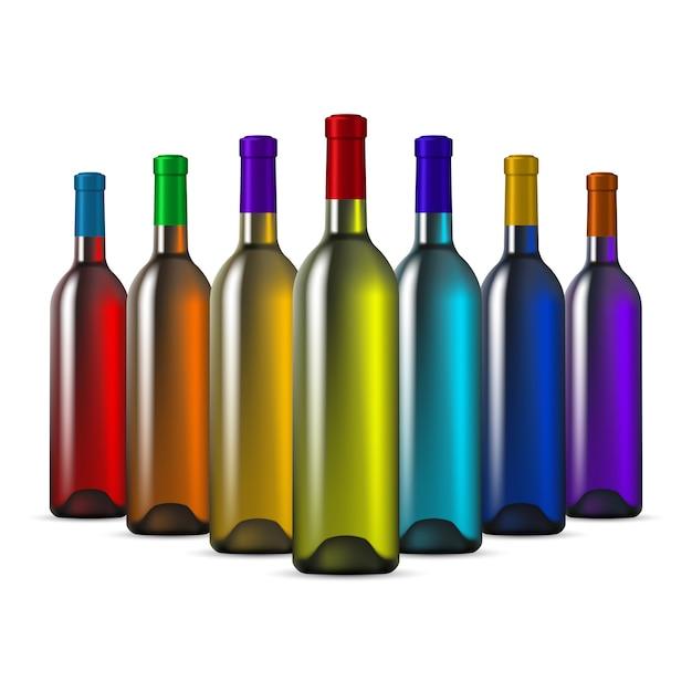 Botellas de vino de vidrio de color arcoíris Vector Premium