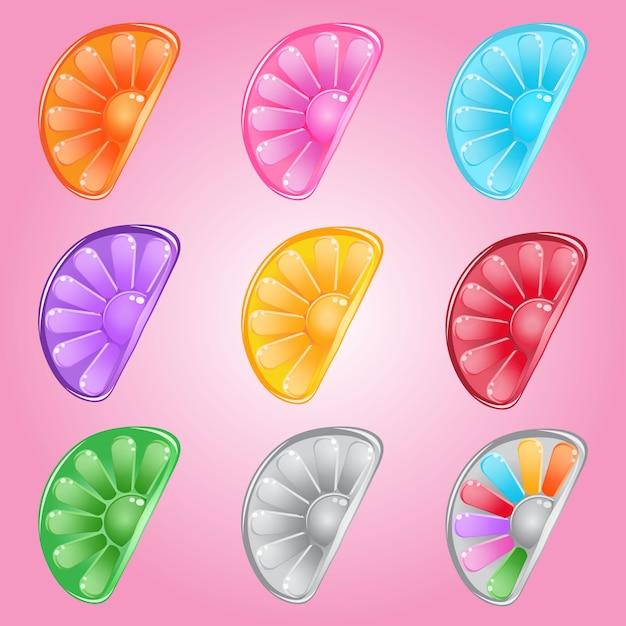 Botón de caramelos de limón gelatina brillante en diferentes colores. Vector Premium