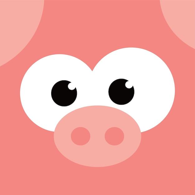 Botón cuadrado icono de cara de cerdo | Descargar Vectores Premium