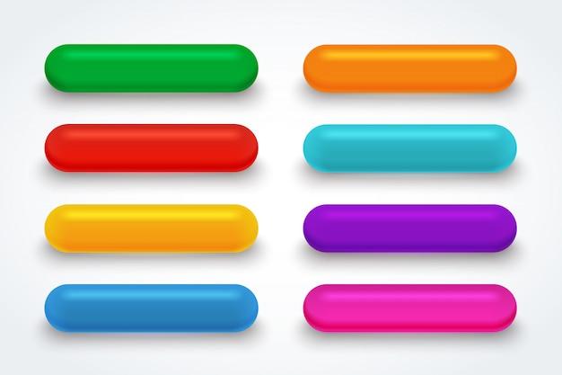 Botón de descarga de vidrio de color. Vector Premium