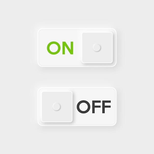 Botón de encendido y apagado del icono. Vector Premium