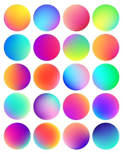 Botón de esfera de degradado holográfico redondeado. Vector Premium