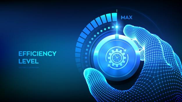 Botón de mando de niveles de eficiencia. mano de estructura metálica girando una perilla de eficiencia a la posición máxima. Vector Premium