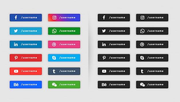 Botón de redes sociales estilo tercera colección inferior vector gratuito