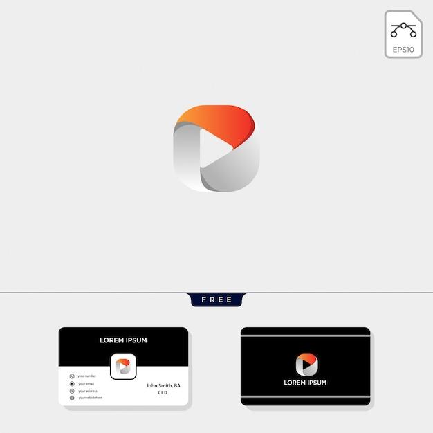 Botón de reproducción negativa. plantilla de logotipo Vector Premium