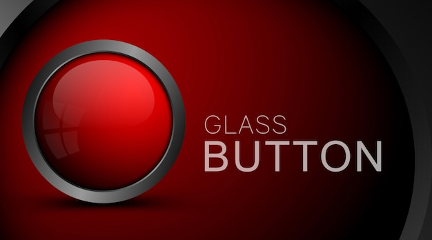 Botón rojo moderno aislado en rojo Vector Premium