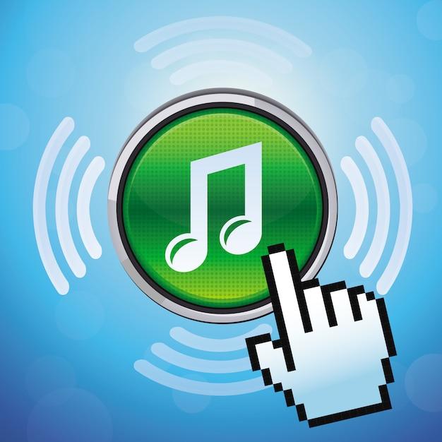 Botón vectorial con nota musical y cursor de mano. Vector Premium