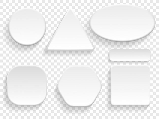 Botones 3d conjunto blanco aislado de forma redonda, cuadrada y triangular o rectangular. Vector Premium