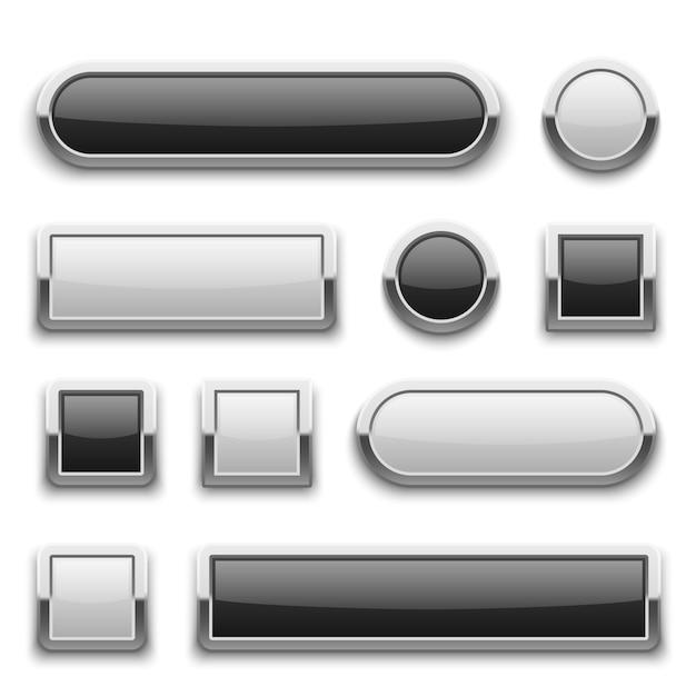 Botones blancos y negros de tecnología 3d Vector Premium