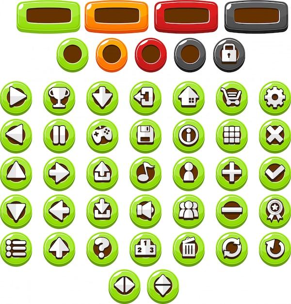 Botones casuales verdes Vector Premium