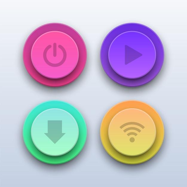 Botones de colores 3d. botones de encendido, reproducción, descarga y wifi. Vector Premium