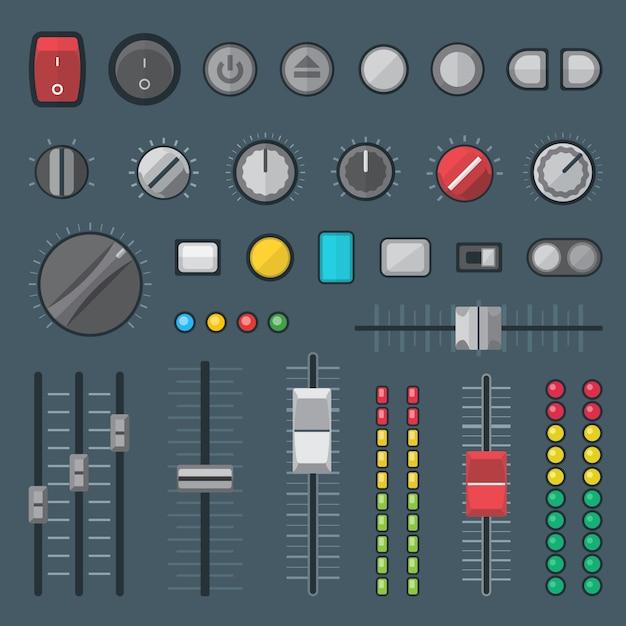 Botones conmutadores, faders, deslizadores, crossfaders e indicadores configurados. Vector Premium