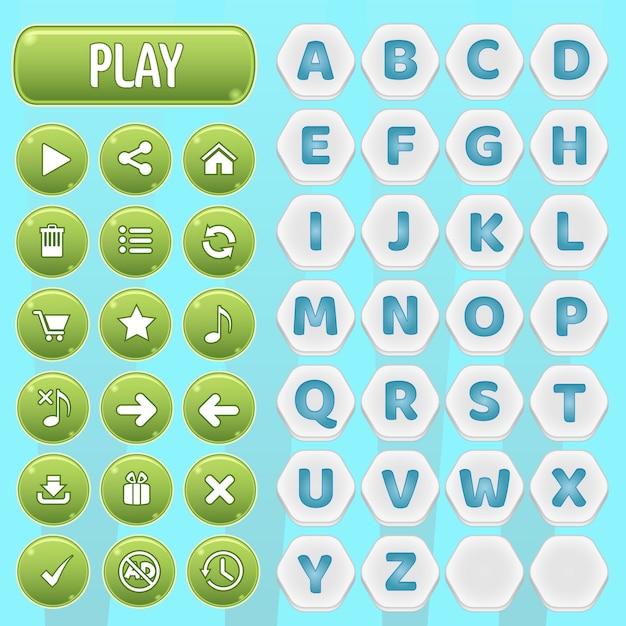 Botones de gui y juego de palabras del alfabeto hexagonal az. Vector Premium