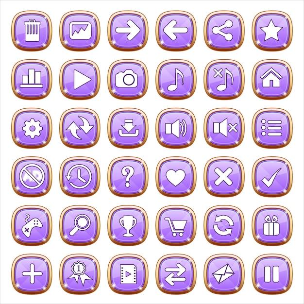 Botones de interfaz gráfica de usuario en luz púrpura. Vector Premium