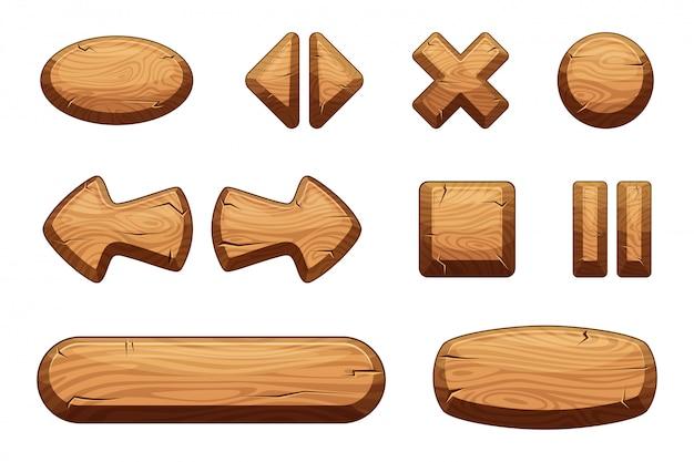 Botones de madera para juego ui Vector Premium