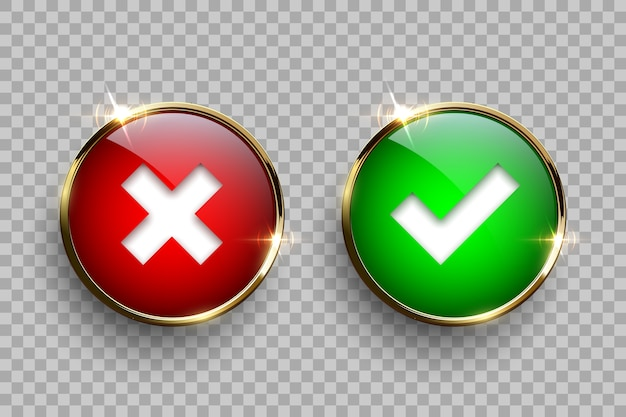 Botones de vidrio redondo rojo y verde con marco dorado con señales de garrapatas y cruces aisladas sobre fondo transparente. Vector Premium
