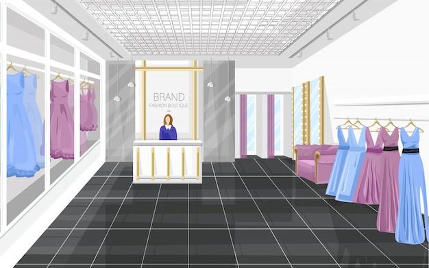 Boutique De Moda Con Vestidos Vector Premium