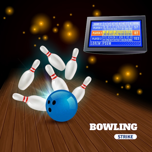 Bowling strike 3d composición con golpear la bola azul en los alfileres y los resultados en el marcador vector gratuito