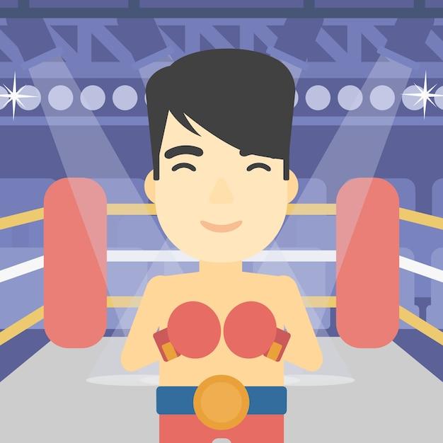 Boxeador confiado en la ilustración de vector de guantes. Vector Premium