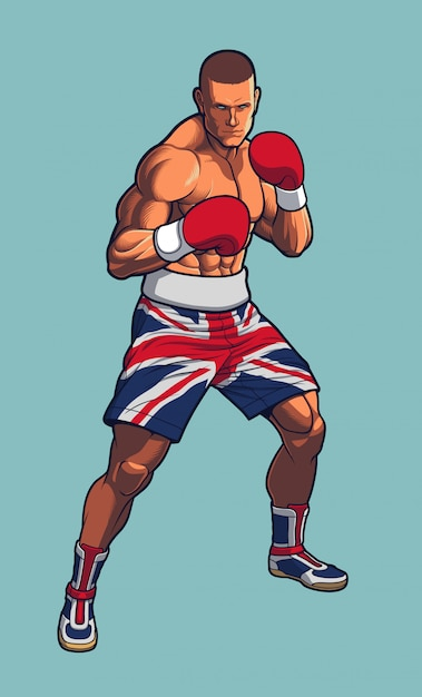Boxeador luchador con pantalones cortos de bandera del reino unido Vector Premium