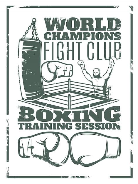 Boxeo estampado monocromático desgastado con anillo de saco de boxeo y guantes vector gratuito