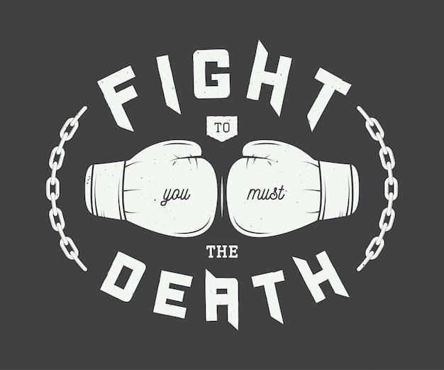 Boxeo, logotipo de artes marciales mixtas Vector Premium