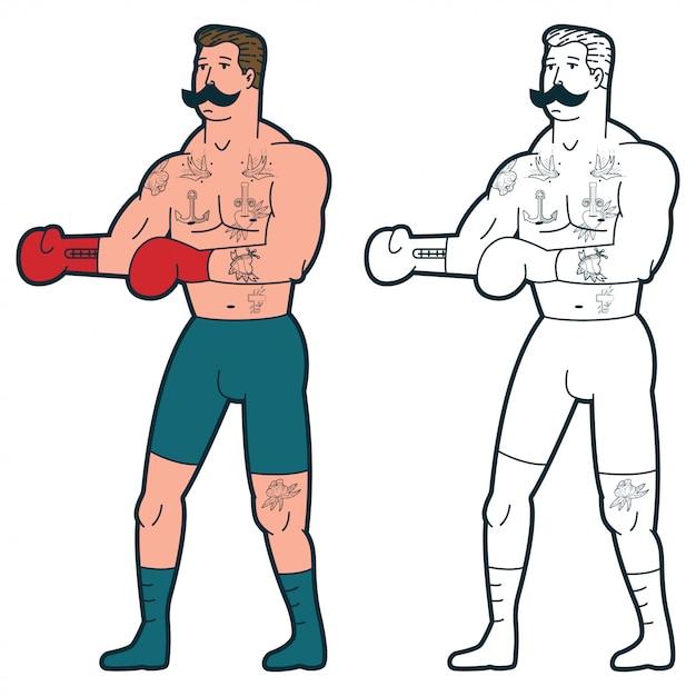 Boxer en guantes de dibujos animados tradicional. Vector Premium