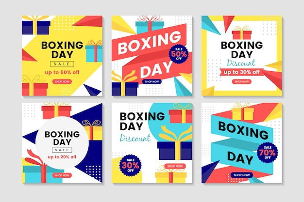 Boxing day sale instagram post collection vector gratuito
