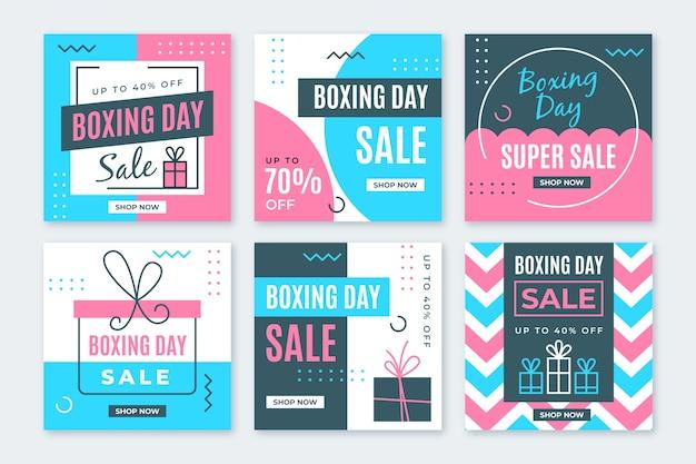 Boxing day sale instagram post set vector gratuito