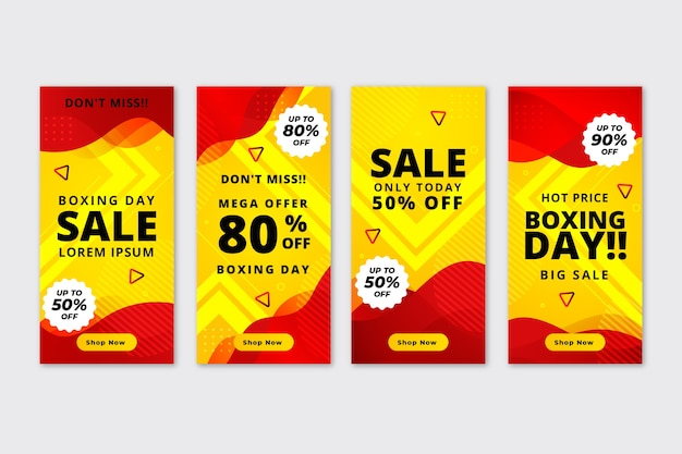 Boxing day sale instagram story collection vector gratuito