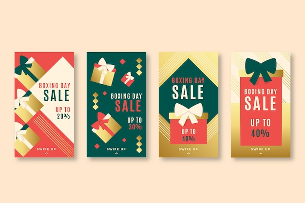 Boxing day sale instagram story set vector gratuito
