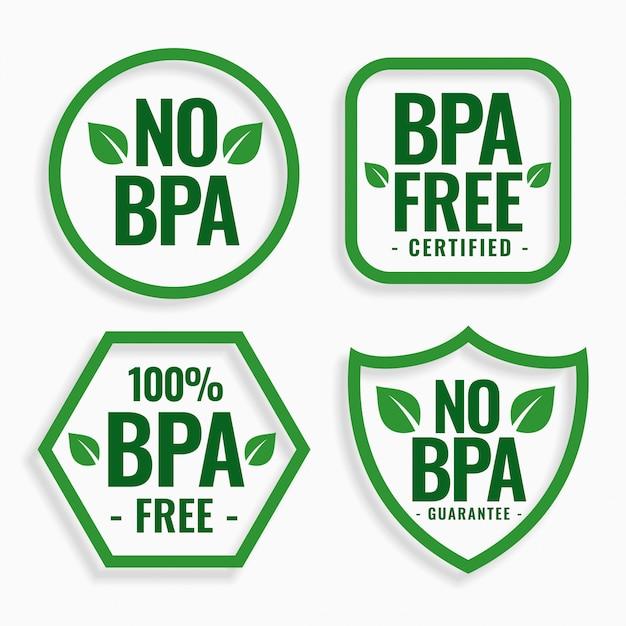 Sin bpa bisfenol-a y ftalatos etiquetas establecidas vector gratuito